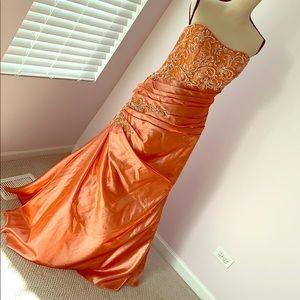 Orange Prom Dress Sparkles